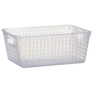 Storage Basket with Colour Handle - White