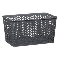 Medium Chevron Storage Basket - Grey
