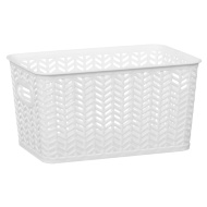 Medium Chevron Storage Basket - White