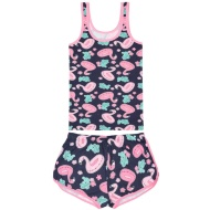 Ladies Vest Pyjamas - Flamingo