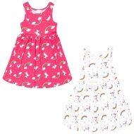 Girls Unicorn Dresses 2pk - Pink & White