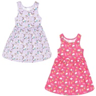 Girls Unicorn Dresses 2pk - Pink & Purple