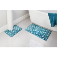 Geo Printed Fleece Foam Bath Mat Set 2pc - Teal