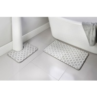 Geo Printed Fleece Foam Bath Mat Set 2pc - Grey