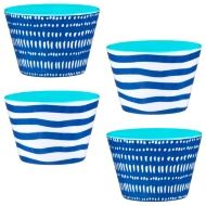 Printed Dipping Bowls 4pk - Navy Stripes