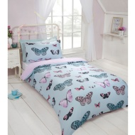Butterfly Single Duvet Set - Blue