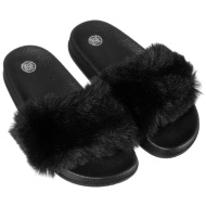 Girls Fluffy Sliders - Black