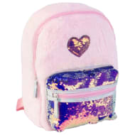 Fur & Sequin Backpack - Heart
