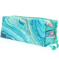 Textured Indigo Pencil Case - Green