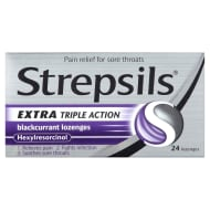 Strepsils Triple Action Lozenges 24pk - Blackcurrant