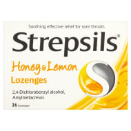 Strepsils Throat Lozenges 36pk - Honey & Lemon