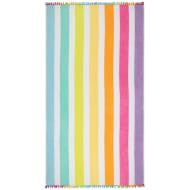 Oversized Pom Pom Beach Towel - Rainbow Stripe