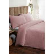 Silentnight Teddy Fleece Double Duvet Set - Blush