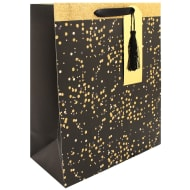 Occasions Gift Bag - Black & Gold Glitter