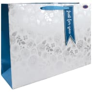 Luxury Shopper Gift Bag - Silver Floral