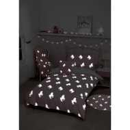 Glow in the Dark Unicorn Single Duvet Set - Pink