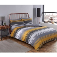 Block Stripe Double Duvet Twin Pack - Ochre