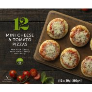 12 Mini Cheese & Tomato Pizzas 360g