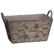 Foil Leaf Print Storage Basket - Grey & Gold
