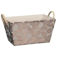 Foil Leaf Print Storage Basket - Duck Egg & Gold