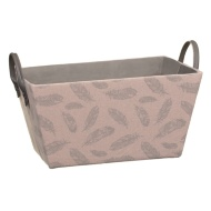 Feather Printed Storage Basket - Blush