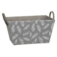Feather Printed Storage Basket - Grey