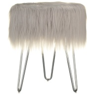 Faux Fur Footstool - Grey