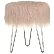 Faux Fur Footstool - Blush Pink