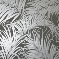 Foil Palm Leaf Wallpaper - Grey-Gunmetal