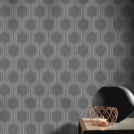 Luxe Hexagon Wallpaper - Gunmetal & Silver