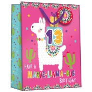 Gift Bag with Age Stickers - Llama
