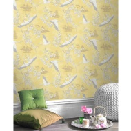 Cranes Yellow Wallpaper