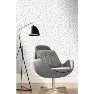 Netz Geo Wallpaper - White & Silver