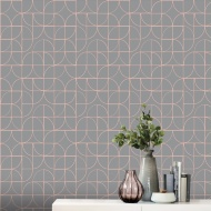 Retro Geo Wallpaper - Charcoal & Rose Gold