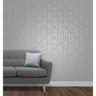 Apex Trellis Wallpaper - Stone & Silver