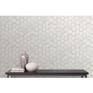 Metro Hex Marble Wallpaper - Silver