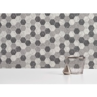 Metro Hex Marble Wallpaper - Charcoal