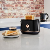 Tower Toaster - Black & Rose Gold