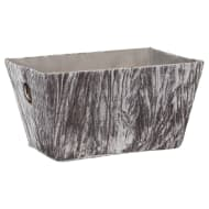 Crinkle Velvet Storage Basket - Grey