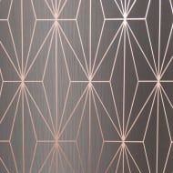Kayla Charcoal & Rose Gold Wallpaper