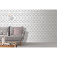 Crystal Trellis Wallpaper - White & Silver