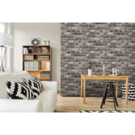 Metallic Brick Wallpaper - Charcoal