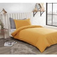 Washed Linen Look Single Duvet Set - Ochre