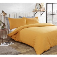 Washed Linen Look Double Duvet Set - Ochre