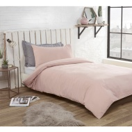 Washed Linen Look Single Duvet Set - Blush
