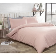 Washed Linen Look Double Duvet Set - Blush