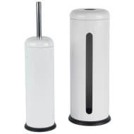Beldray Ribbed Toilet Brush & Roll Holder Set - White