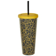 Double Walled Metallic Soda Cup 630ml - Leopard