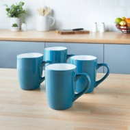 Trend Set Stoneware Mugs 4pk - Teal