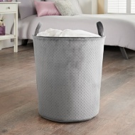 Velvet Round Laundry Hamper - Grey